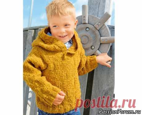 Пуловер горчичного цвета с капюшоном | Вязание спицами для детей Свободный пуловер из твидовой пряжи дополнен удобным большим капюшоном.РАЗМЕРЫ86—92 (98—104) 110—116ВАМ ПОТРЕБУЕТСЯПряжа (85% шерсти, 15% ангорской шерсти; 85 м/ 50 г) — 250 (300) 350 г горчичной; спицы №4,5; длинные круговые спицы №4,5; крючок №4,5.УЗОРЫ И...