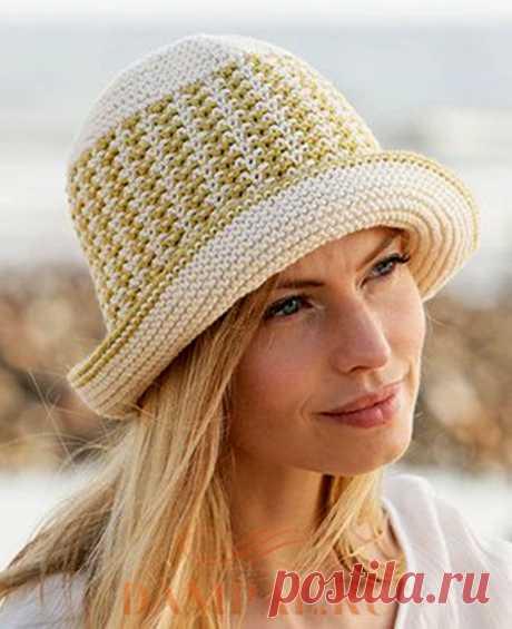 Кокетливая летняя шляпка (Вязание спицами) Летняя шляпка «Beach Friend» Кокетливая летняя шляпка поможет защитить нежную кожу лица от знойного солнца. Размеры: S/M (L/XL) Окружность головы – 52/54 (56/58) см, Высота – около 23 см. Необходим…