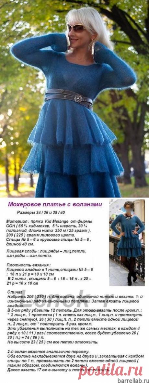 Мохеровое платье с воланами спицами. Платье их мохера камелот | Вязание для всей семьи