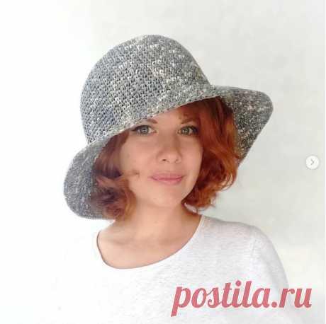 Новая форма шляпки из рафии крючком от Марины Смирновой marina13sms_crochet  расход 3,5 моточка