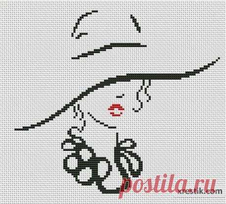 Девушка в шляпе №3  Размер в крестиках:... / Рукоделие / Схемы для вышивки монохромных девушек / Pinme.ru