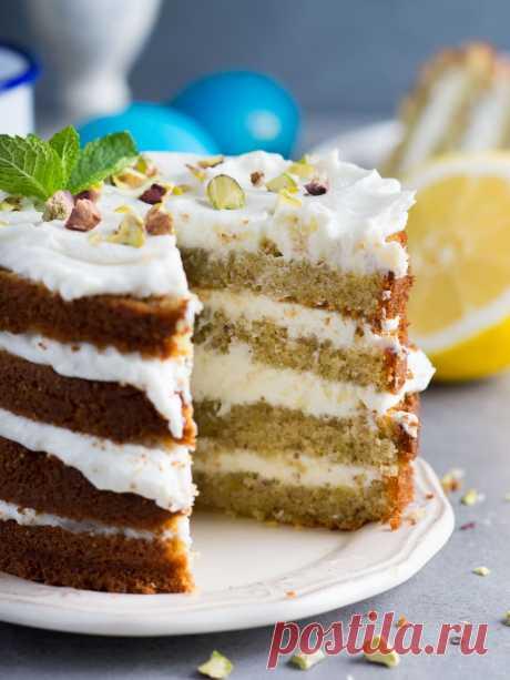 Elena Demyanko: Pistachio and lemon bezglyutenovy cake \/ Lemon and pistachio layer cake