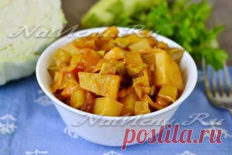 Овощное рагу в мультиварке с кабачками, картошкой и капустой