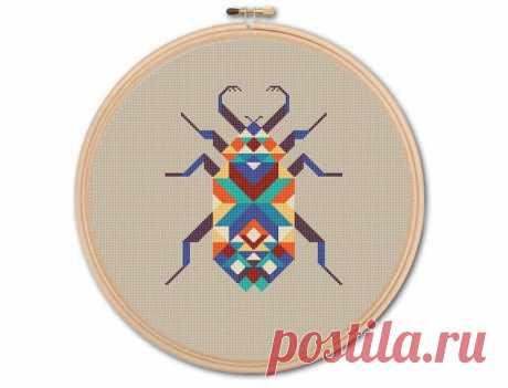 Geometric Beetle Counted Cross stitch Pattern PDF Cross   Etsy