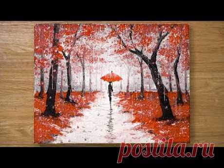 Прогулка под дождем / Техника рисования красной акриловой краской # 448