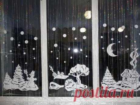 Как украсить окно на Новый год 2018 своими руками: фото, трафареты
