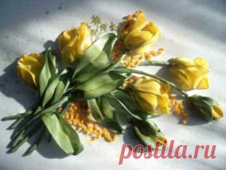 Царственные тюльпаны, вышитые лентами, МК — Делаем руками
