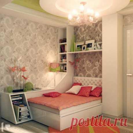 Оригинальная идея полок и ящиков для спальни