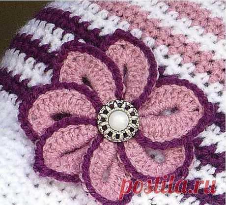 Вязаный крючком цветок с пуговицей (Вязаные цветы) – Журнал Вдохновение Рукодельницы