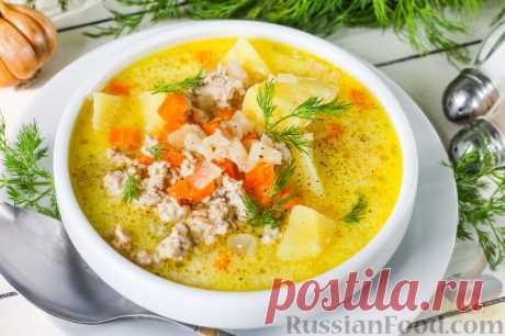 La receta: la Hamburguesa con queso-sopa con el picadillo en RussianFood.com