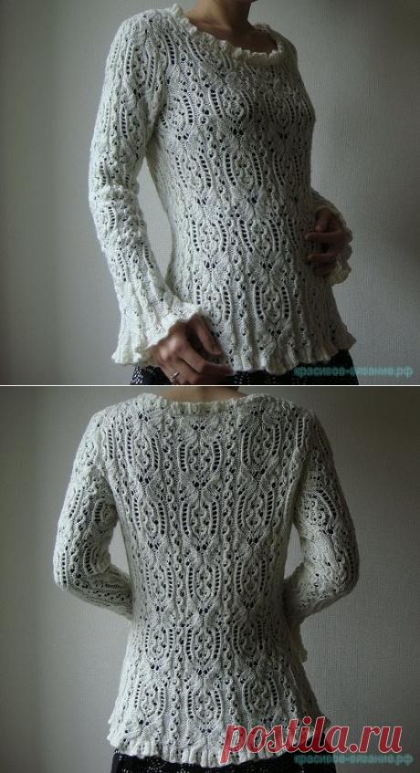Красивое вязание | Пуловер Ажурный лебедь