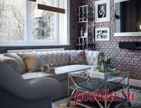 Дизайн квартиры-студии в американском стиле 49,5 кв. м.