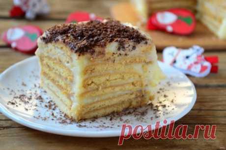 Торт из печенья без выпечки - рецепт с фото