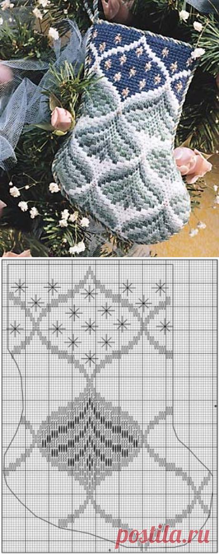 Вышиваем новогодний сапожок в технике Барджелло. Hовогодний сапожок вышивка | Я Хозяйка