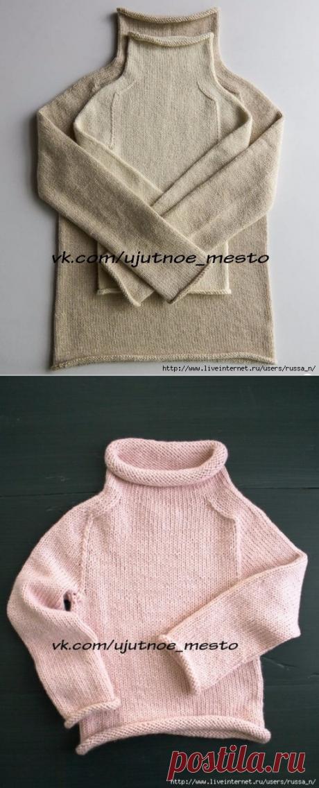 Универсальный свитер реглан без швов спицами круговыми рядами.