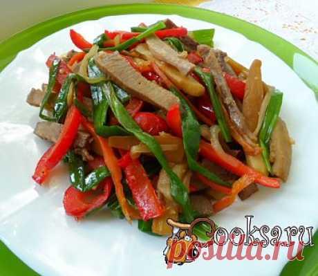 Тёплый овощной салат с языком рецепт с фото