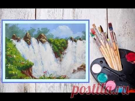 Видео урок Рисуем гуашью Водопад #Dari Art