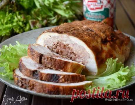 Галантин из курицы с фасолью и грибами. Ингредиенты: курица тушка, мясной фарш, фасоль красная консервированная