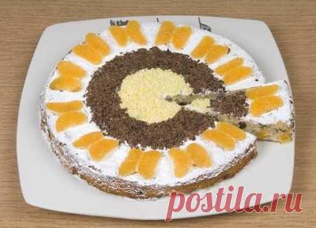 Шарлотка на сметане с мандаринами: пошаговый рецепт с фото