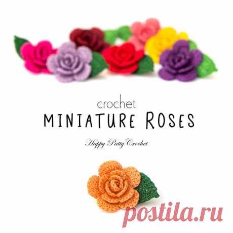 "Photo by Happy Patty Crochet on May 16, 2018. 图片中可能有:文字可能说的是""crochet MINIATURE ROSES Happy Patty Crochet"""