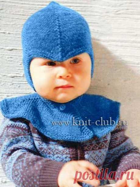 Детская вязаная шапочка спицами