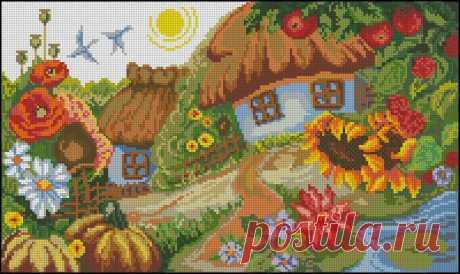 Домик в деревне схема вышивки. Вышивка крестом домик в цветах