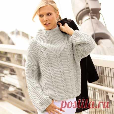 Светло-серый свитер с «косами» и резинкой - схема вязания спицами. Вяжем Свитеры на Verena.ru