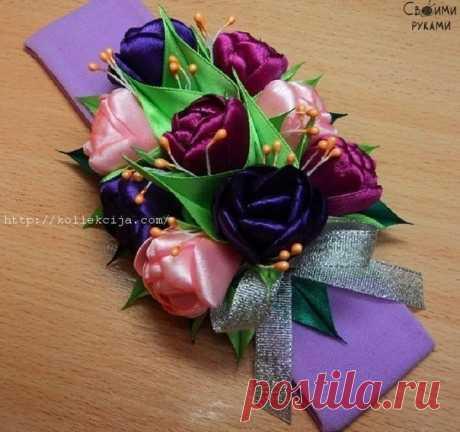 Тюльпаны из атласной ленты. Мастер-класс