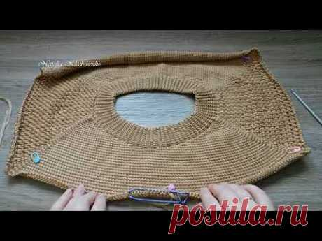 The TUNISIAN KNITTING*VYAZHEM the JUMPER the RAGLAN of SVERHU*3 of h we knit undercuts *