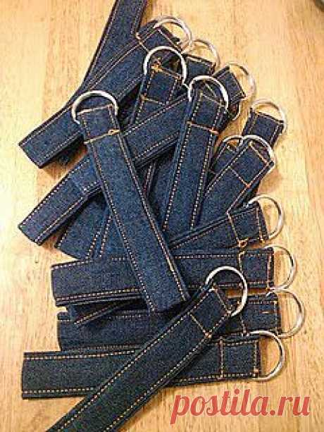 Key chain from old jeans   Sewing ideas