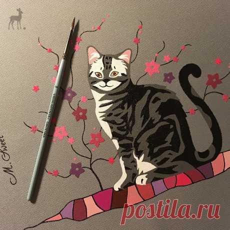 Знакомьтесь: кошка Матильда Я готова показать новую эксклюзивную женскую сумку с художественной росписью. Познакомьтесь: очаровательная Матильда с янтарно-желтыми глазами. Она сидит, греясь в первых лучах весеннего солнышка.