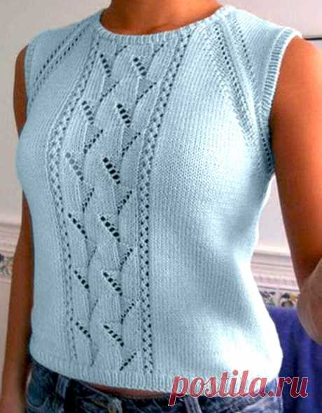 Топ с центральным ажурным узором (Вязание спицами) – Журнал Вдохновение Рукодельницы