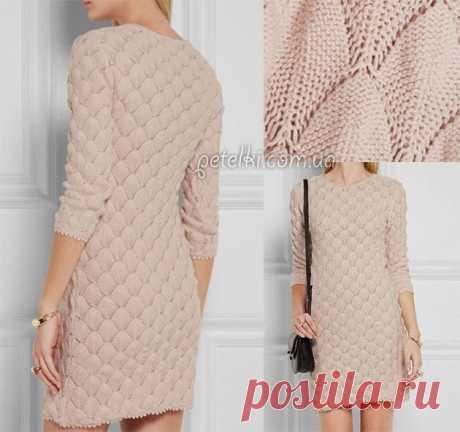 Красивейшее платье спицами. Схема узора Очень красивое платье, вязаное спицами.  Одновременно и скромное, и нарядное.  Зеленый квадрат - нет петли.  Выкройку можно взять, например, отэтого платья.  Источник:https://petelki.com.u
