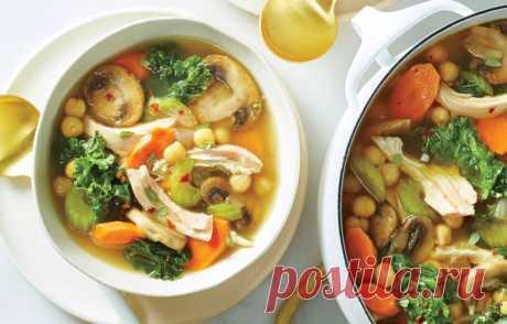 Куриный суп с грибами, сельдереем и нутом - кулинарный пошаговый рецепт с фото • INMYROOM FOOD