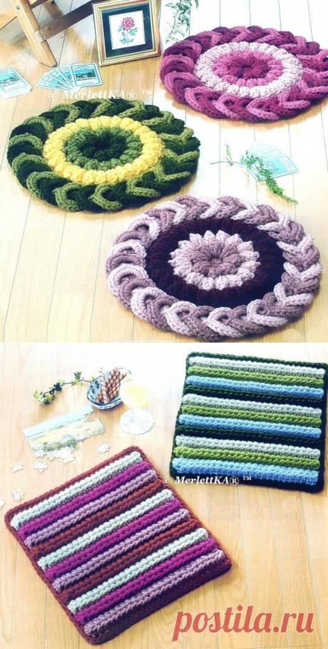 Вязание крючком - коврики ~ подушки
