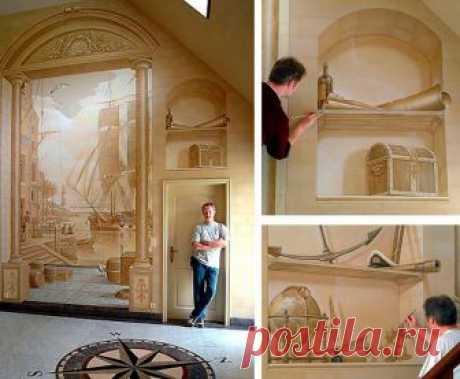Оформление стен: оптические иллюзии   Home and garden   Яндекс Дзен