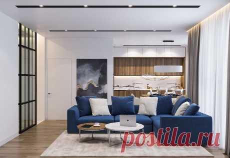 Дизайн интерьера двухкомнатной квартиры 65 кв.м. с планировкой.