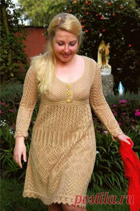 Платье вязаное спицами для полных женщин. Вязание для женщин спицами |