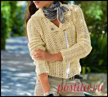 Стильная куртка-косуха - описание и схемы вязания крючком.