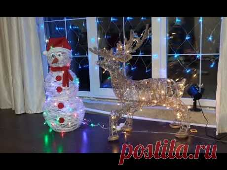 (280) Новогодний светящийся снеговик и олень из проволоки своими руками. Идеи новогоднего декора. - YouTube