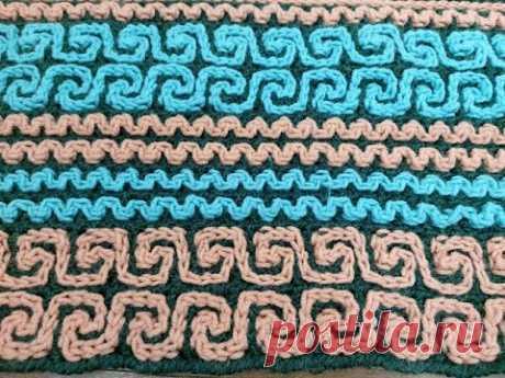 Техника вязания крючком цветных орнаментов для ковриков, пледов и других вещей