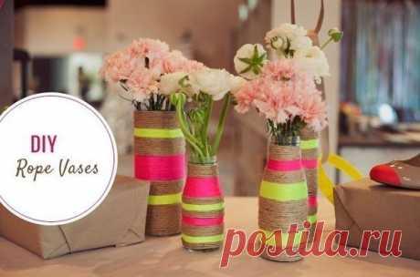 Интересный декор бутылки цветными веревками — Сделай сам, идеи для творчества - DIY Ideas