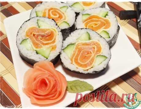 """Роллы """"Роза"""" с лососем – кулинарный рецепт"""
