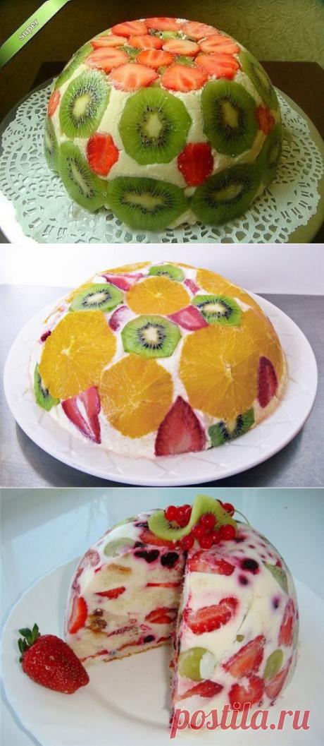 Оригинальный фруктовый торт без выпечки