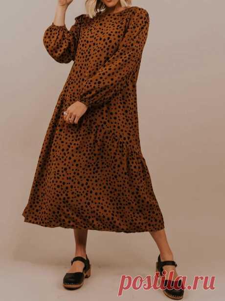 Women Woven Polka Dot Round Neck Long Sleeve Maxi Dresses - US$25.99