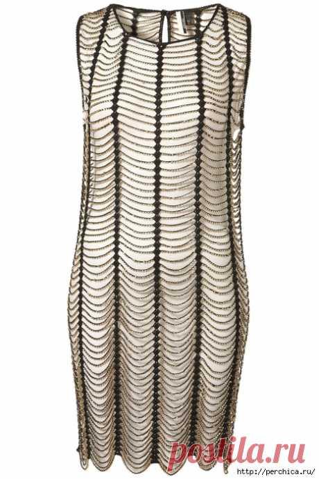 Нарядное платье с бисером крючком