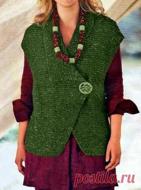 Красивый жилет обычной платочной вязкой до 56-го размера(описание) | Идеи рукоделия | Яндекс Дзен