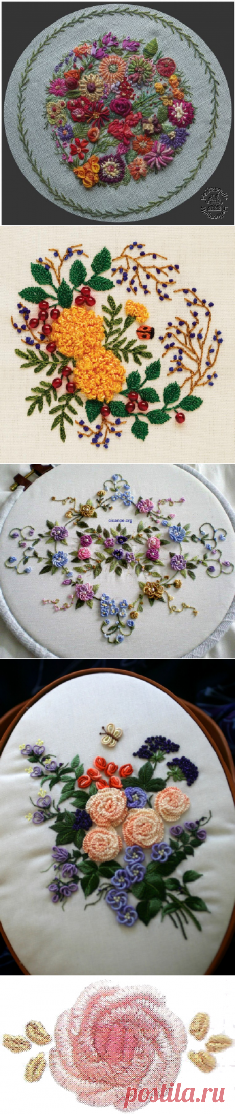Rose embroidery in equipment of rococo