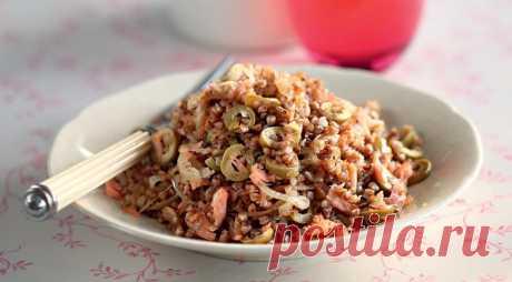Гречневая каша с лососем и оливковым маслом, пошаговый рецепт с фото