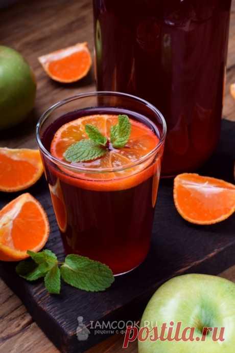 Компот с мандаринами и замороженными ягодами — рецепт с фото на Русском, шаг за шагом. Вкусный компот насыщенного цвета с мандаринами, ягодами, яблоками и изюмом. #рецепт #компот #рецепт #рецепты #напитки #компоты #мандарины